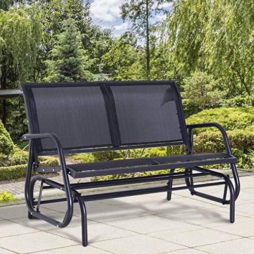 GCLuxury Dark Grey Double Glider Rocking Chair Bench Outdoor Garden Patio Furniture Relax Comfort Seating Poolside Lightweight Sling ()