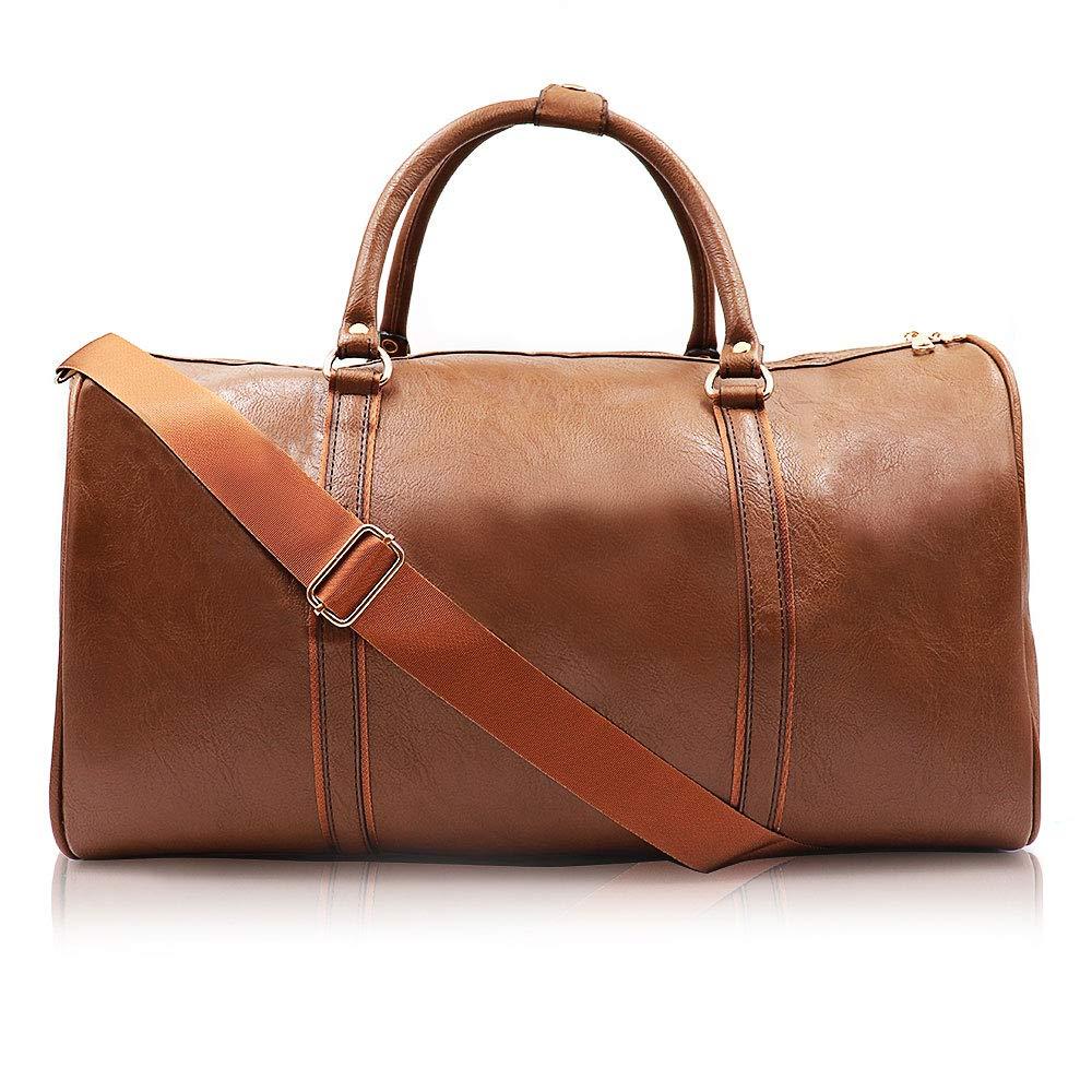 Weekend Travel Leather Bag Overnight Duffel Waterproof Bags Tote Carryon Luggage Gym Bag for Men&Women(Brown)