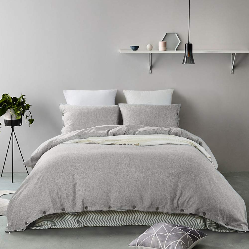 Mukka 3 Pieces Grey Heather Cotton Like Chambray Simple Style Coconut Button Closure Duvet Cover Bedding Set King Brushed Luxury & Breathable Microfiber Easy Care Bed Linen by MUKKA (Image #2)