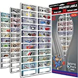"Steellabels - Garage Storage Organizer Kit- 3 Sheet Organizer Set - 83 Chrome Foil Decals for organizing all your garage items & hardware ""Easy Read"" large colored labels"