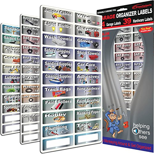 "Garage Organizer Labeling Set- 3 Large Sheets with - 83 Chrome Foil Decals for organizing All Your Garage Items & Hardware ""Easy Read"" Large Peel and Stick Colored Organizer Labels..."