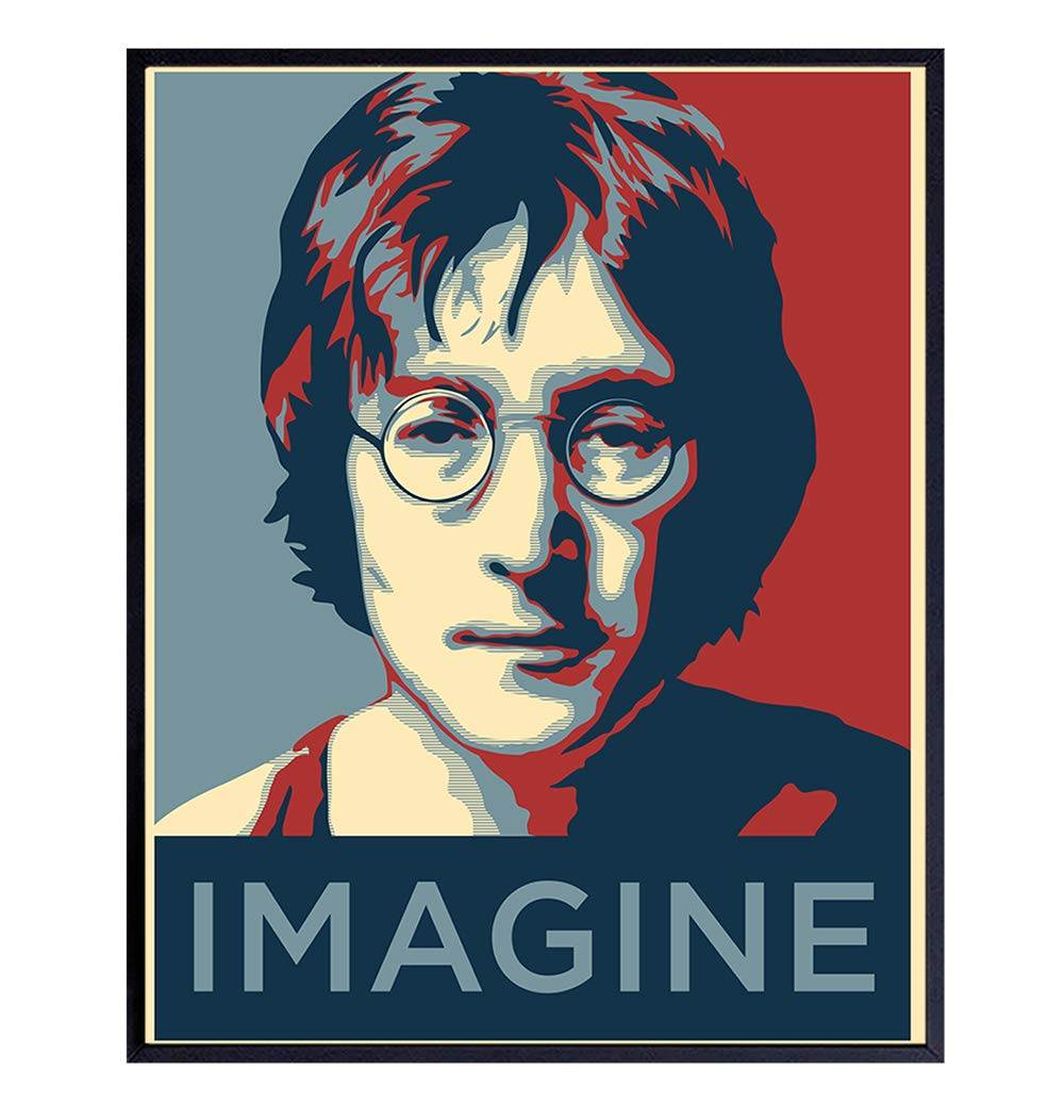 Amazon Com John Lennon Imagine Wall Art Print Contemporary 8x10 Photo Poster Cool Unique Gift For Beatles Music Fans Original Home Decor Room Or Office Decoration Unframed Picture Handmade