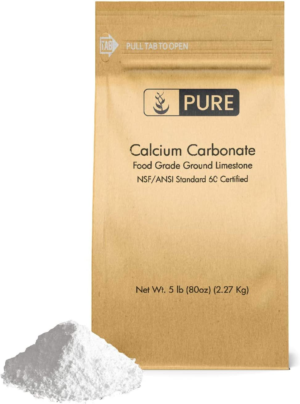 Calcium Carbonate Powder (5 lb.) by Pure Organic Ingredients, Eco-Friendly Packaging, Dietary Supplement, Antacid, Food Preservative, More