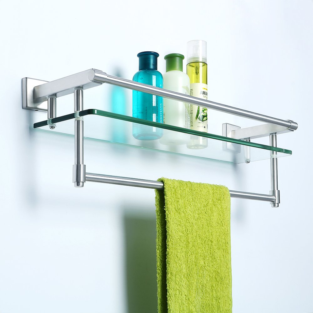 Amazon.com: Alise Shower Glass Shelf SUS 304 Stainless Steel ...