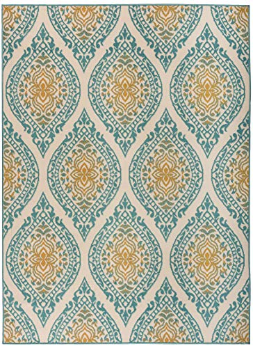 Antep Rugs Kashan King Collection Polypropylene Indoor Area Rug (Blue/Cream, 5' x 7')