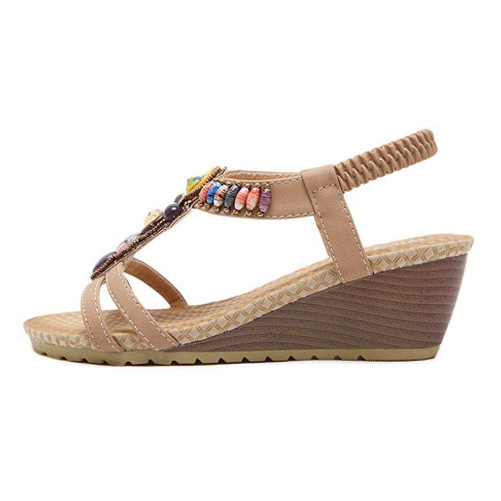 Women's Sandals Summer Beach Boho Boho Boho Bohemia Roman Bead Flip Flops Shoes,Apricot,35 35|Apricot B07D17KC8T 85bb37