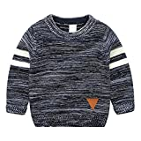 Little Boys Stripes Knitting Sweater Crewneck Sweatshirt Cotton Pullover Pajamas Deep Blue Size 100