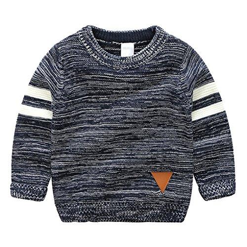 Little Boys Stripes Knitting Sweater Crewneck Sweatshirt Cotton Pullover Pajamas Deep Blue Size 100 by SanReach (Image #1)