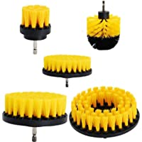 SODIAL 5Pcs Combinate Drill Brush Power Scrubbing Brush Drill Spin Scrubber Electric Cleaning Brush Fixing for Car Bathroom Wooden Floor Laundry Room Cleaning