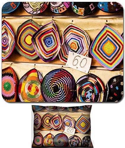 Luxlady Mouse Wrist Rest and Small Mousepad Set, 2pc Wrist Support design IMAGE: 24372031 Yarmulke traditional Jewish headwear Israel