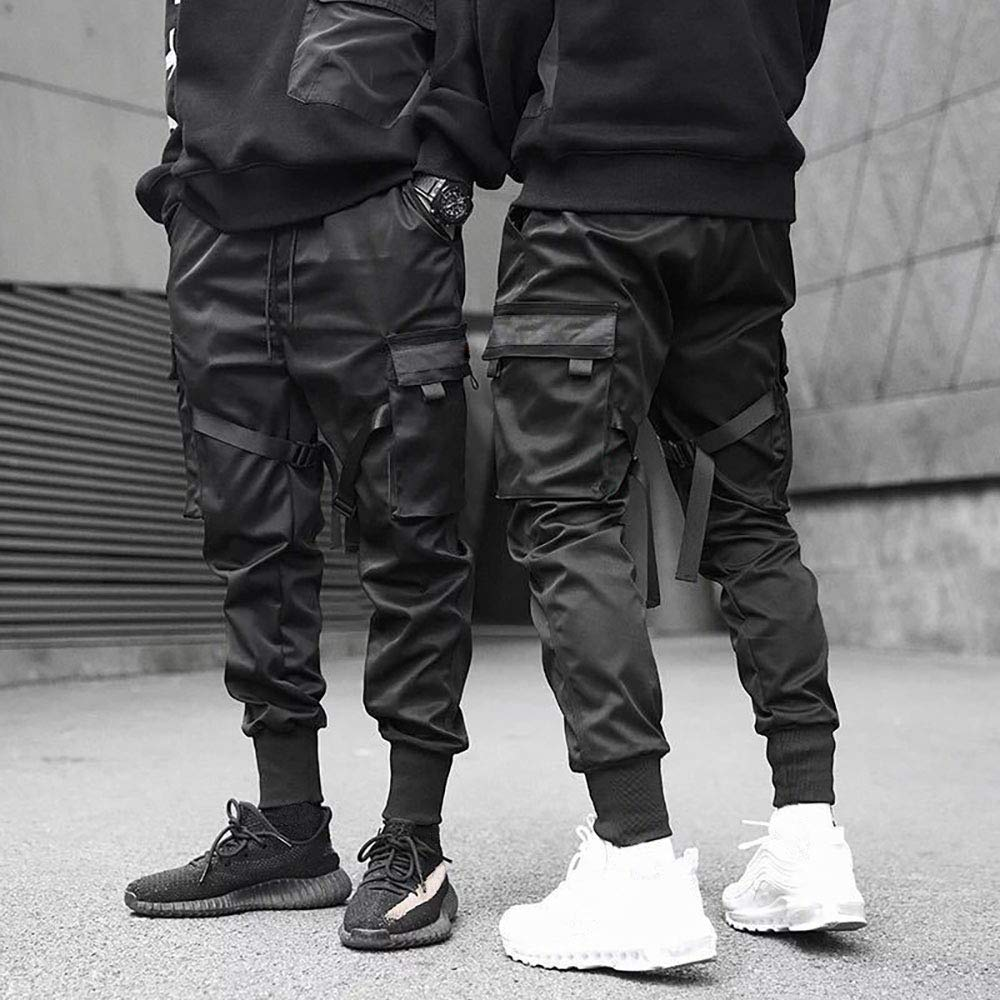 ONTTNO Mens Black Tactical Pants Relaxed Fit Military Army Streetwear Joggers