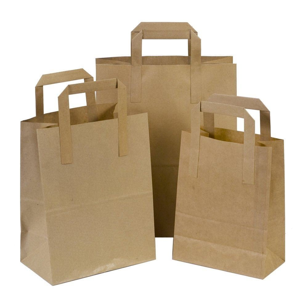 10 Small SOS Takeaway Brown Kraft Paper Carrier Bags with Flat Handles 18x23+9cm Carrier Bags Online