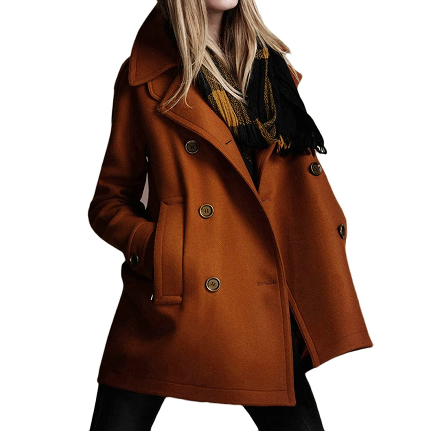 Artfasion Women Slim Double Turn-down Collar Double Breasted Long Wool Coat (S, CT03tan)
