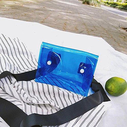 para de de Azul Dinero Pequeño de Crossbody del Moneda Bolso Las teléfono Móvil la Hombro el ROKOO de Mujeres Transparente Señora Bxwgn5q