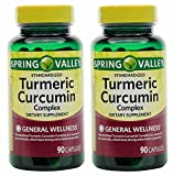 Spring Valley Stndr Turmeric Curcumin Complex Dietary Supplement Capsules, 500 mg, 90 Count Bottle, 2 Pack For Sale