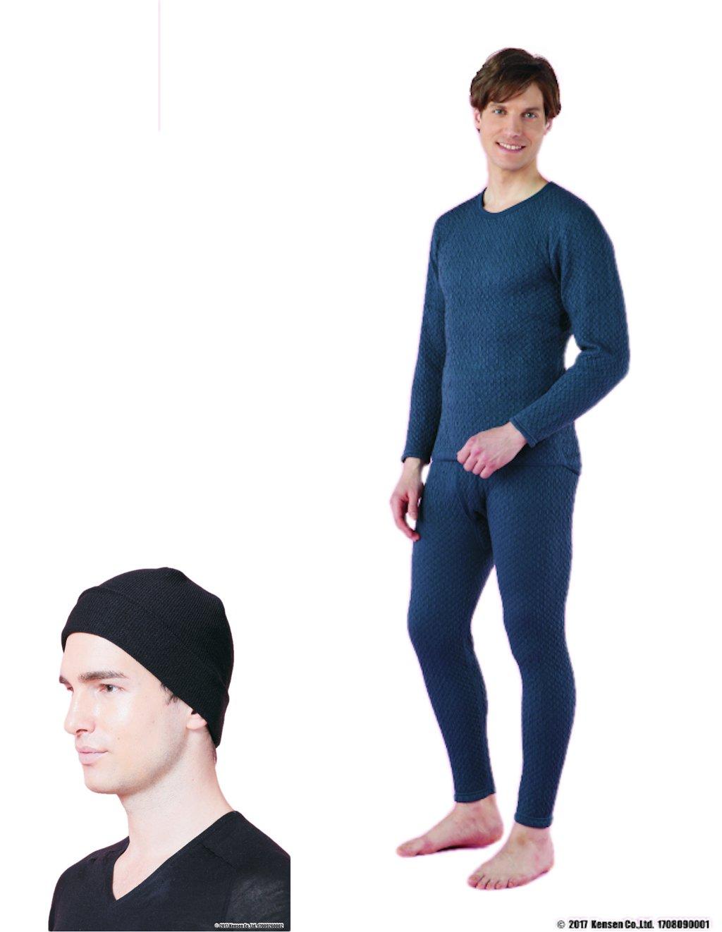 ひだまり チョモランマ[紳士用]◆上下セット【長袖丸首+ズボン下】+ひだまりニット帽セット (LL) B076GXQ9RK