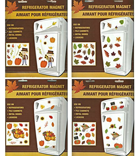 Assorted Fall Themed Refrigerator Magnets Bundle - 4 Pc (New 2016 Designs)