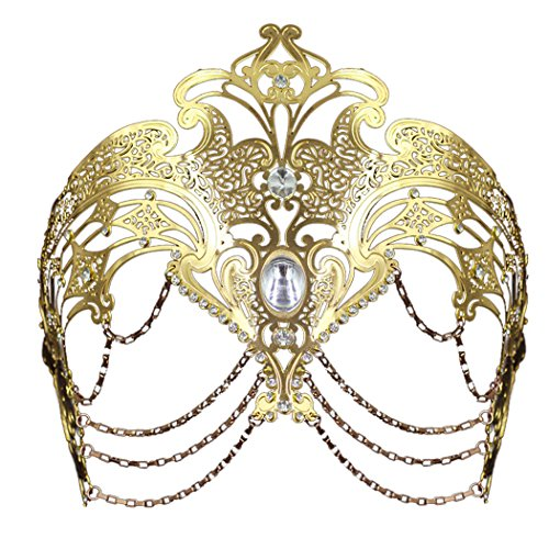 Coxeer Masquerade Mask Metal Venetian Mask Halloween Mardi Gras Mask Christmas Wedding Party Mask (Gold) - Feather Half Masks