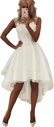 Sexy Simple Short Beach Wedding Dress High Low Lace Bride Gowns 2020 At Amazon Women S Clothing Store