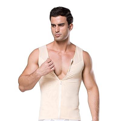 ZEROBODYS Men's Net Zipper Abdomen Body Shaper Slimming Shirt Elastic Sculpting Vest Tank Shaping Vest SS-M09: Clothing
