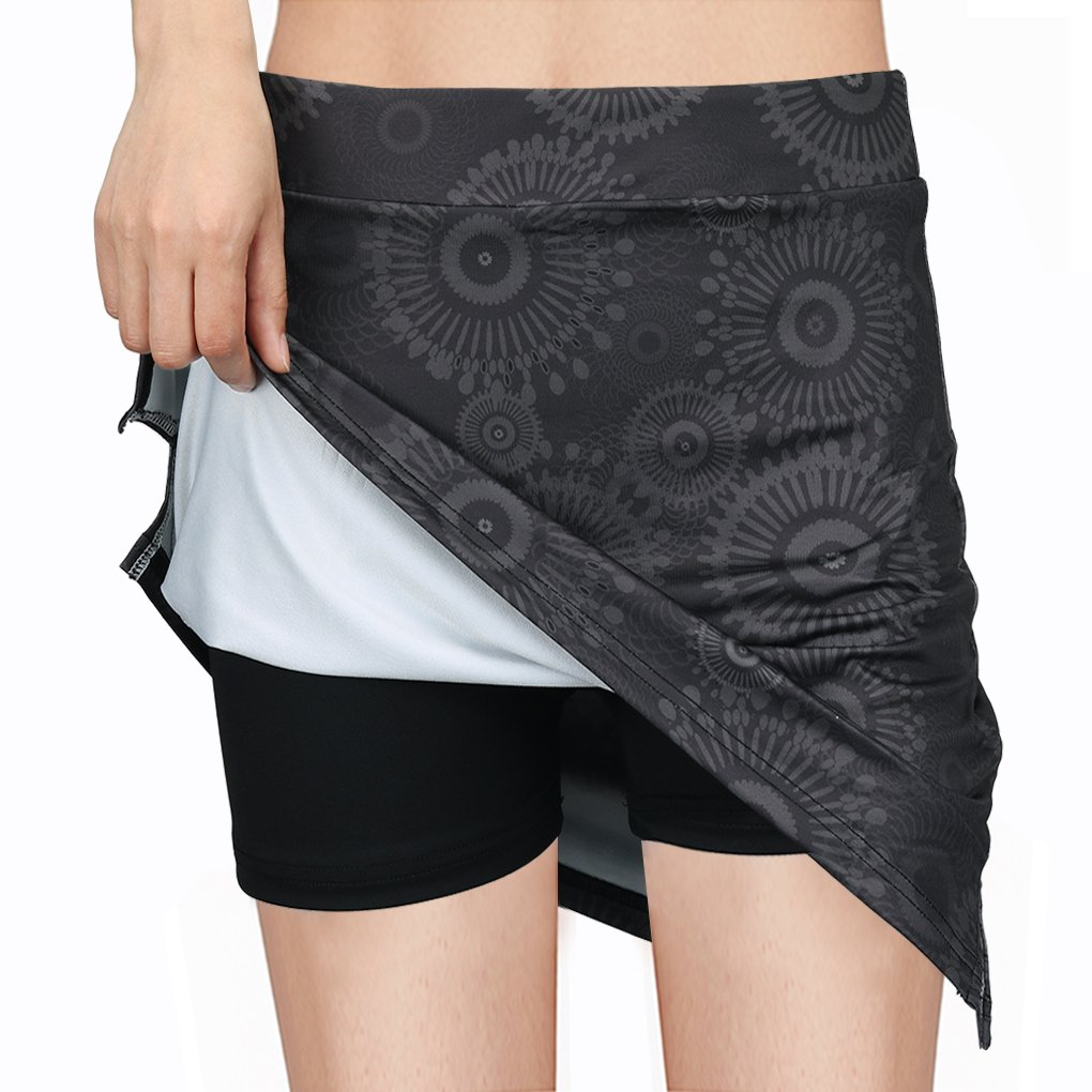 Topfire Women Active Athletic Skorts Lightweight Quick Dry Skirt, Gray Printing, Large by Topfire (Image #1)