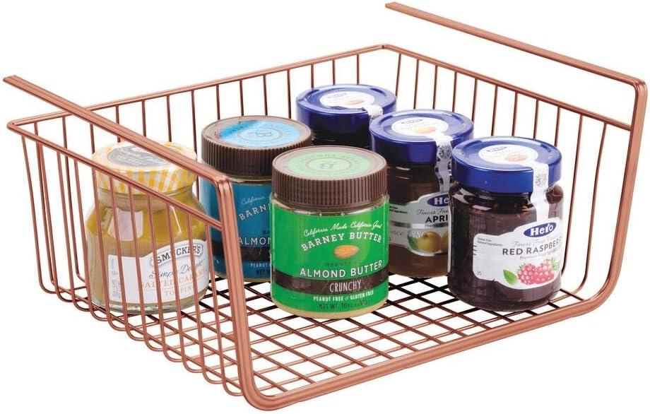 Robustos estantes de Cocina para Alimentos y Utensilios de Cocina cobrizo Cestas met/álicas Grandes para Cocina y despensa mDesign Cesta Colgante de Metal Resistente a la corrosi/ón
