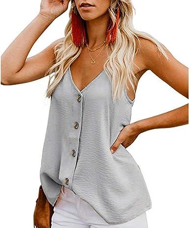 Camisetas sin Mangas de Verano para Mujer Camisas Mujer Fiesta Cuello en V botón Tirantes Camiseta de Tirantes Mujer Camiseta Deportiva Camisa de Verano sin Mangas Camisola Tops Tamaño Grande: Amazon.es: Ropa