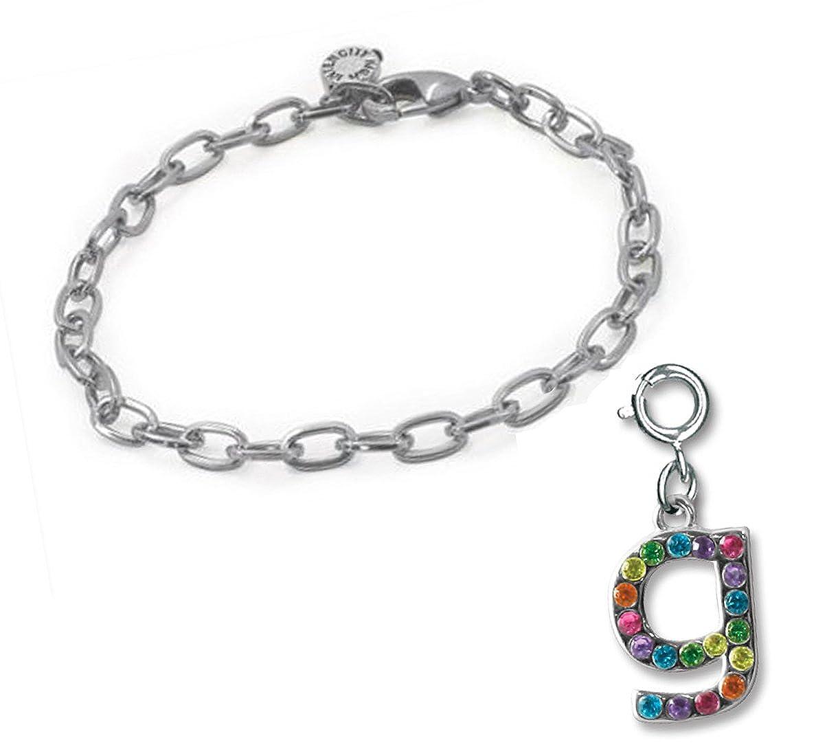 Rainbow Initial Charm /& Starter Bracelet Set G CHARM IT