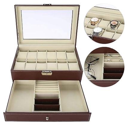 TMISHION Caja de Relojes Hombre Mujer con 12 Compartimientos ...