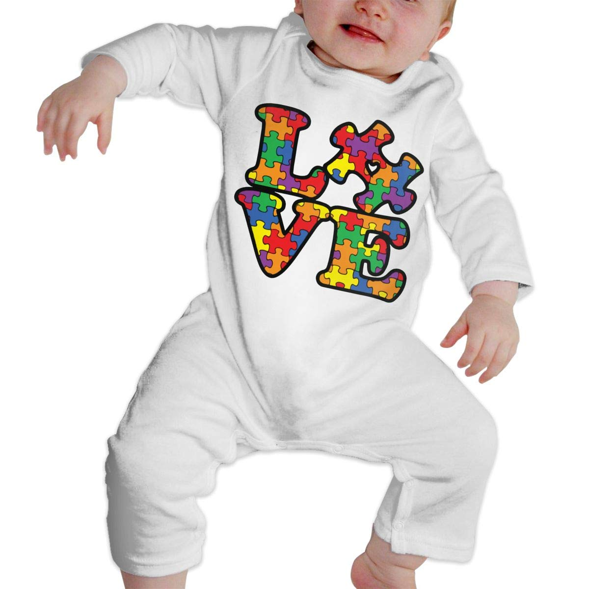 A1BY-5US Baby Infant Toddler Cotton Long Sleeve Autism Awareness Puzzle Piece Climb Jumpsuit One-Piece Romper Clothes