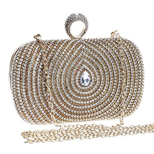 Borsa vestito frizione della a del della del da della della Evening della delle Gold sera tracolla della borsa bag diamante donne borsa diamante del borsa borsa frizione zZSw75