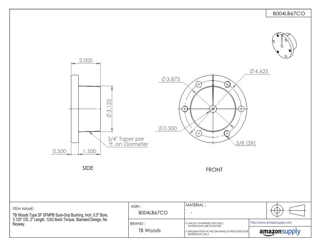 Inch 3.125 OD Standard Design 1243 lbs//in Torque 2 Length TB Woods Type SF SFMPB Sure-Grip Bushing 0.5 Bore No Keyway 0.5 Bore 3.125 OD 2 Length