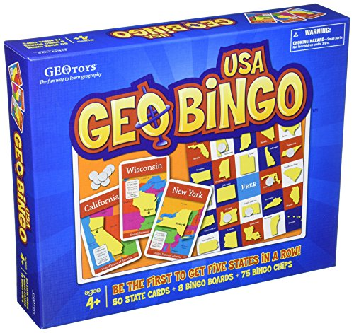 Geotoys - GEOBINGO USA - BEST BOARD GAME TO LEARN GEOGRAPHY & US STATES AND CAPITALS - EDUCATIONAL GAME AND FAMILY GAME