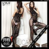 YFF Large open document black stockings-trousers straps web socks underwear female transparent ,XL