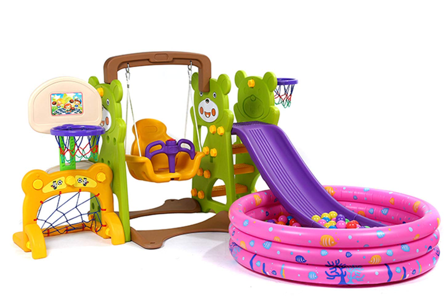 5-in-1 Toddler Climber and Swing Set with Ball Pool and air Pump Basketball Hoop Playset for Both Indoors Backyard,Green by Thole (Image #1)