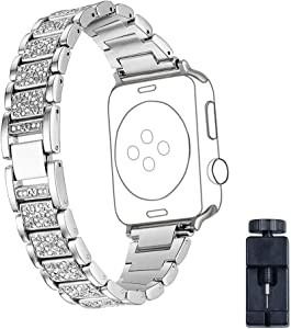 Band for Apple Watch 42mm/38mm, Replacement Accessories for iWatch,Replacement Stainless Steel Bands with Rhinestone for Apple Watch Band Series 3/Series 2/Series 1