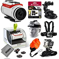 TomTom Bandit 4K Action Camera with 32GB Ultra Memory + Suction Cup Mount + Headstrap + Chest Harness + Hand Wrist Glove + Floaty Strap