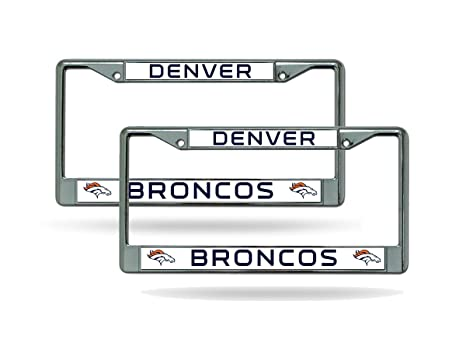 Amazon.com : Rico Industries NFL Chrome License Plate Frame, Denver ...