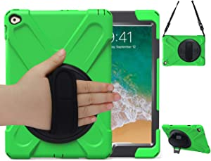 iPad Air 2 Case with Handle 2014 | TSQ iPad Air A1566 Case 3 Layers Shockproof Dropproof Hybrid Hard Rugged Protective Case with Kicktand Hand Strap Shoulder Strap for iPad Air 2nd Gen 9.7 Inch, Green
