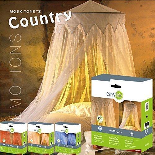 Moskitonetz: Fliegennetz Country mit Baldachin, Fliegengitter in Weiß, 2,5 x 12m, dekorativer Betthimmel