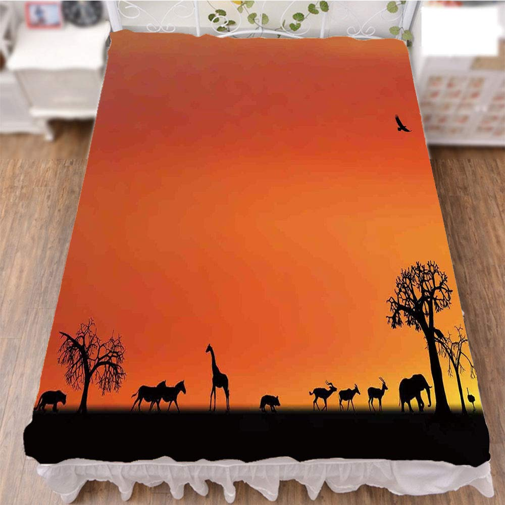 iPrint Bed Skirt Dust Ruffle Bed Wrap 3D Print,Safari Animals Gulls Reflections in Background at,Fashion Personality Customization adds Color to Your Bedroom. by 70.9''x78.7''
