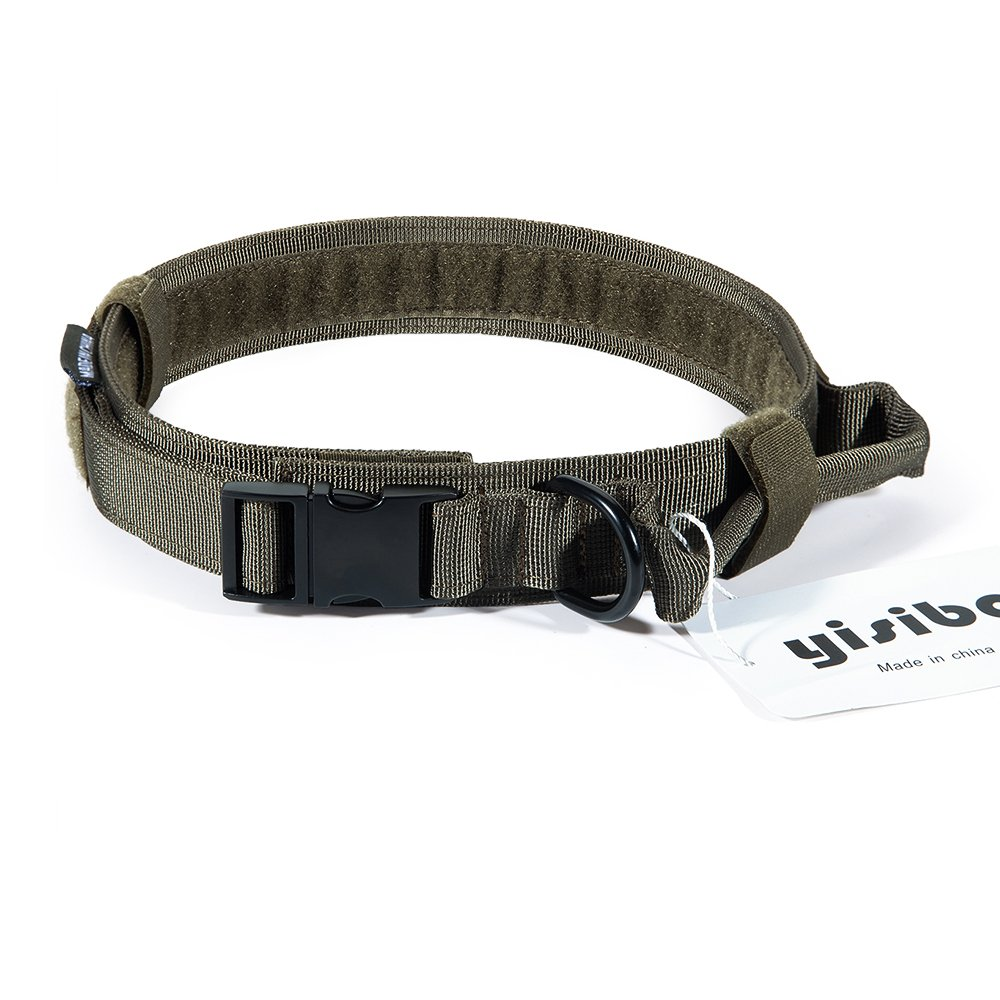 Ranger Green L Size-Adjustable(19\ Ranger Green L Size-Adjustable(19\ yisibo Tactical Dog Collar with Control Handle,Hook and Loop Panel for Dog ID Patch(Large,Ranger Green)