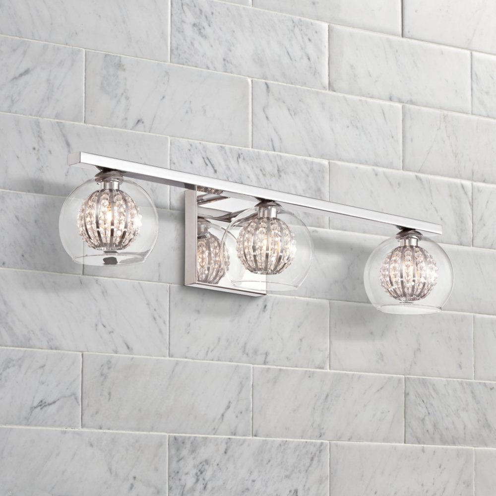 Wonderful Comfortable Crystal Vanity Lights For Bathroom Ideas   Bathroom With .