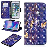 for iPhone 7 Plus/8 Plus Wallet Case and Screen Protector,QFFUN Glitter 3D Pattern Design [Purple Butterfly] Magnetic Stand Leather Phone Case with Card Holder Drop Protection Etui Bumper Flip Cover