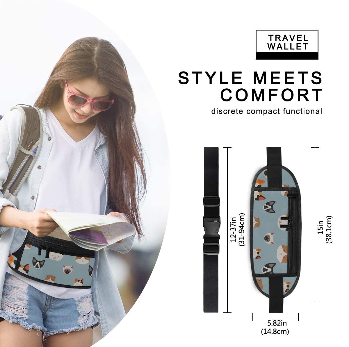 Travel Waist Pack,travel Pocket With Adjustable Belt Cute Cats Pattern S On Running Lumbar Pack For Travel Outdoor Sports Walking