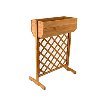 Roots Shoots Wood Planter On Trellis Stand Small Garden Amazon Co