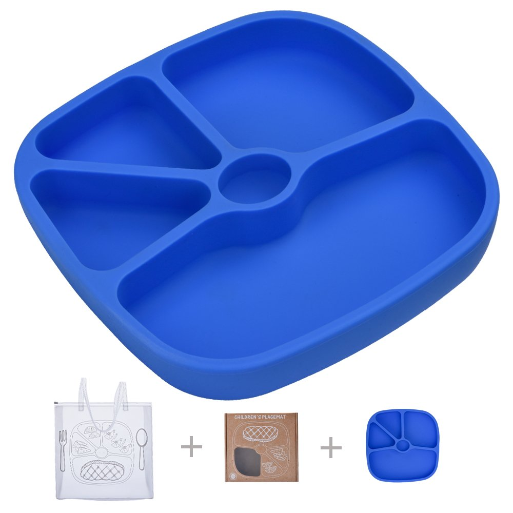TOPQSC Silicone Baby Divided Plate - Non-Skid Tray Portable Place Mat - for Infant Toddler Kid - Fits Most Highchair Table Home - with 1 Extra HQ Portable Bag - Blue