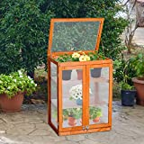Outsunny 3-tier Wooden Cold Frame Polycarbonate Grow House Garden Greenhouse Outdoor Flower Vegetable Planting Storage Shelves (58L x 44W x 78H (cm))