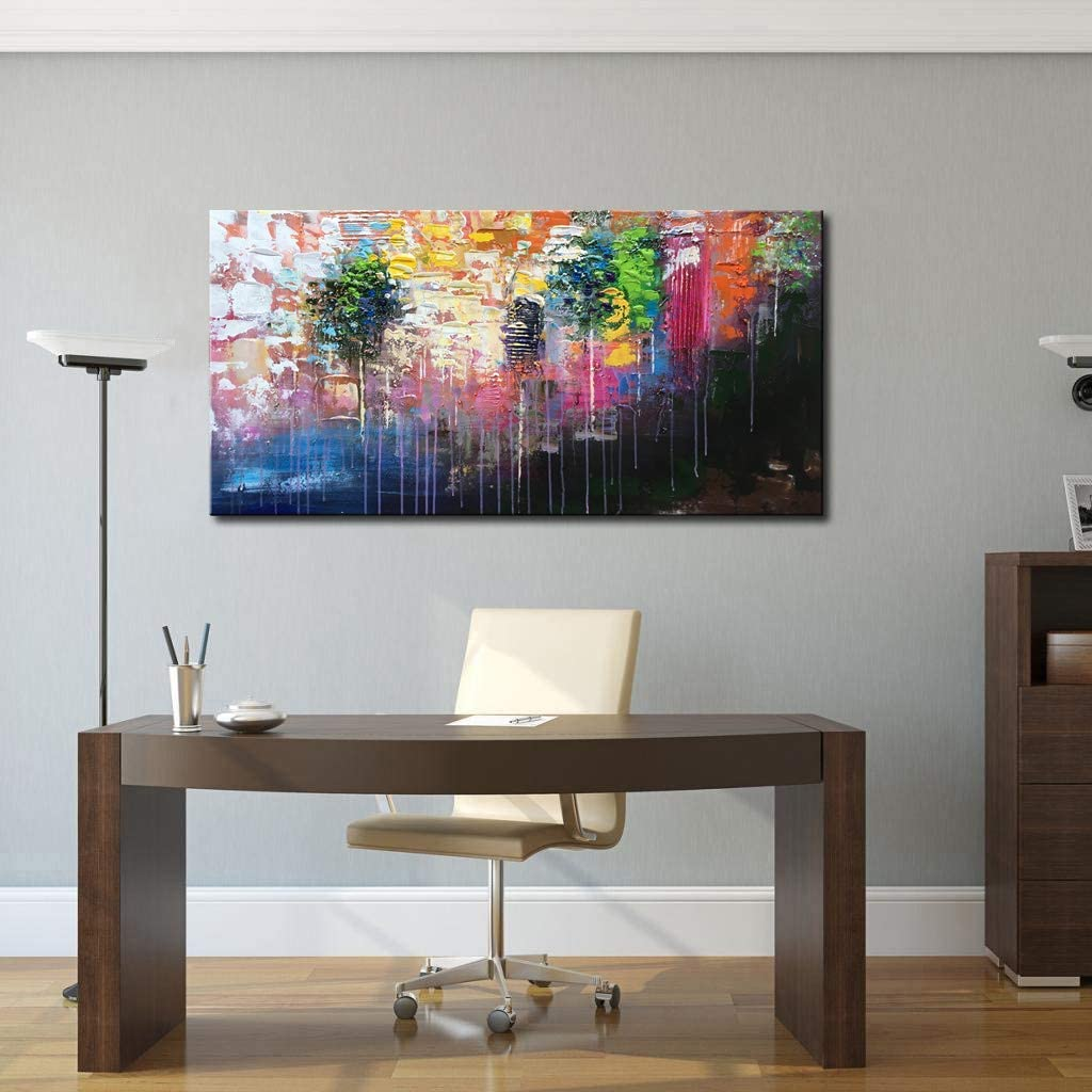 Modern Abstract Colorful texture landscape wall art 100/% Hand-Painted Canvas Stretched Artwork Living Room Bedroom home Childrens room Decor Frameless,50x100cm 20x40inch 3D Oil Paintings Wall Decor