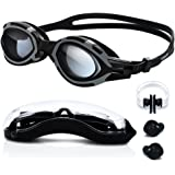 Goggles for Swimming with Protective Case, Nose Clip, Ear Plugs Included - TURATA Triathlon Swim Galasess for Men Women Boy High-Definition Clear Anti Fog Shatter UV Protection Flexible Leakproof Silicone Straps Quick Release Design